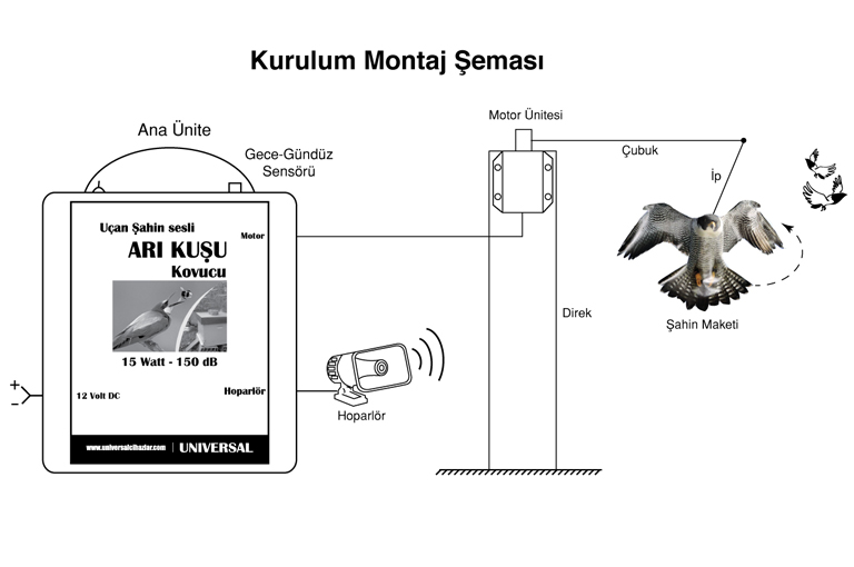 Uçan Şahin Sesli, Maketli Arı Kuşu Kovucu Kurulum Montaj Şablonu